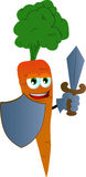 Carrot guard with shield and sword Royalty Free Stock Photography