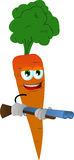 Carrot with a gun Stock Photos