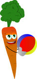 Carrot holding a beach ball Royalty Free Stock Photo