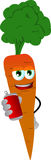 Carrot holding beer or soda can Royalty Free Stock Photo