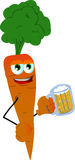 Carrot holding beer Stock Photos