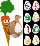 Carrot holding a big sack with variable signs Royalty Free Stock Photography