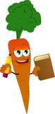 Carrot holding a book and a pencil Royalty Free Stock Images