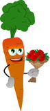 Carrot holding a bunch of flowers Royalty Free Stock Image