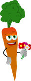 Carrot holding a bunch of flowers Royalty Free Stock Photography