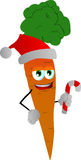 Carrot holding a candy cane and wearing Santa's hat Royalty Free Stock Photo