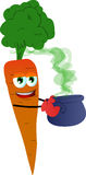 Carrot holding cauldron with potion Stock Photography