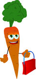 Carrot holding an empty bag Stock Photography