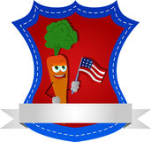 Carrot holding the flag of the USA label with blank ribbon Royalty Free Stock Photography