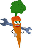 Carrot holding a huge wrench Stock Images