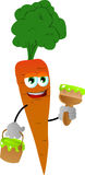 Carrot holding a paint can and a paint brush Royalty Free Stock Photo
