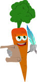 Carrot holding paper scroll and feather Stock Image