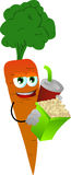 Carrot holding popcorn and soft drink Stock Photography