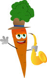 Carrot holding saxophone Royalty Free Stock Photos