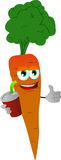 Carrot holding soda and showing thumb up sign Royalty Free Stock Image