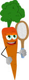 Carrot holding a tennis rocket Stock Photo