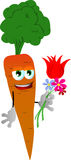 Carrot holding tulip and other flowers Stock Images