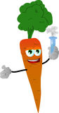 Carrot holds beaker of chemicals Royalty Free Stock Photo