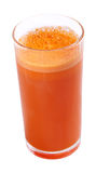 Carrot Juice. In a glass on white isolated background Royalty Free Stock Images