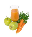 Carrot juice with apples and carrots Stock Photo