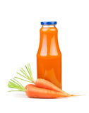 Carrot juice bottle Stock Images
