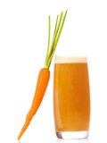 Carrot juice and carrot isolated on white Royalty Free Stock Image