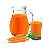 Carrot juice and carrots, jug and glass cup, vector, illustration Royalty Free Stock Images