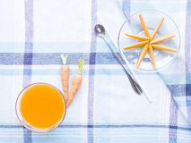 Carrot juice with  explode ingredient Royalty Free Stock Image