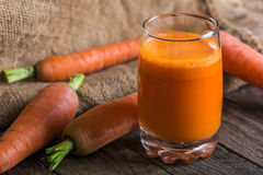 Carrot juice. A glass of freshly squeezed carrot juice Stock Photo
