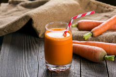 Carrot juice. A glass of freshly squeezed carrot juice Royalty Free Stock Image