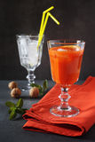 Carrot juice and ice Stock Photography