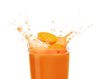 Carrot juice. Isolated on white Royalty Free Stock Photos