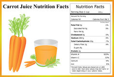 Carrot Juice Nutrition Facts. Glass of carrot juice with carrots and a nutrition label Royalty Free Stock Images