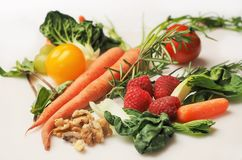 Carrot, Kale, Walnuts, Tomatoes Stock Photography