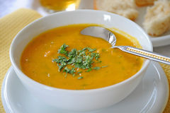Carrot & Lentil Soup. A bowl of carrot and lentil soup royalty free stock photography
