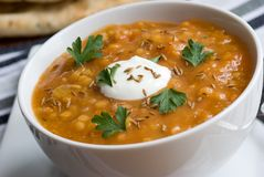 Carrot and lentil soup Stock Photography