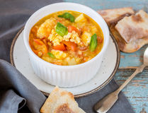 Carrot and lentil soup with tomatoes Royalty Free Stock Photo