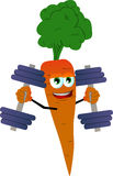 Carrot lifting weight Stock Images