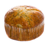 Carrot Muffin. A carrot muffin with the wrapping on is isolated against a white background Stock Image