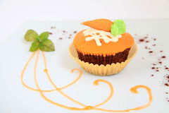 Carrot muffin with decoration Royalty Free Stock Image