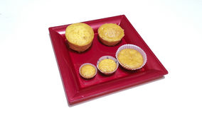 Carrot muffin. In a red tray Royalty Free Stock Images