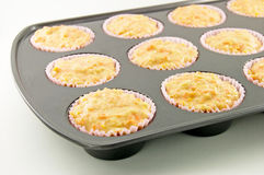 Carrot Muffins. Carrot and apple muffin batter in a non-stick muffin tin Stock Image