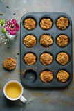 Carrot muffins, cooking backstage, top view Stock Images