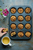 Carrot muffins, cooking backstage, top view Stock Photo