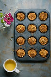 Carrot muffins, cooking backstage, top view Stock Image