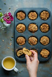 Carrot muffins, cooking backstage, top view Royalty Free Stock Images