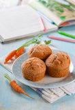 Carrot muffins. For healthy kids lunch, selective focus Royalty Free Stock Image