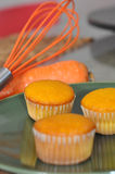 Carrot Muffins and Kitchen Whisk Stock Photo