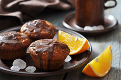 Carrot muffins with melted chocolate Royalty Free Stock Image