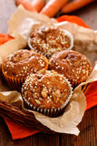 Carrot nut muffins. Homemade muffins with walnuts and carrot stock photography